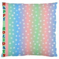 Christmas Happy Holidays Snowflakes Large Cushion Case (One Side)