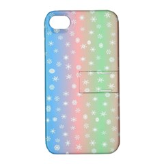 Christmas Happy Holidays Snowflakes Apple Iphone 4/4s Hardshell Case With Stand