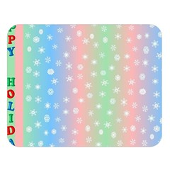 Christmas Happy Holidays Snowflakes Double Sided Flano Blanket (Large)