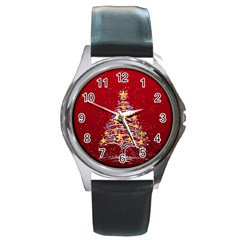 Colorful Christmas Tree Round Metal Watch