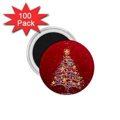 Colorful Christmas Tree 1 75  Magnets (100 Pack)