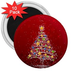 Colorful Christmas Tree 3  Magnets (10 pack)