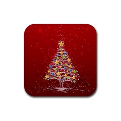 Colorful Christmas Tree Rubber Coaster (Square)
