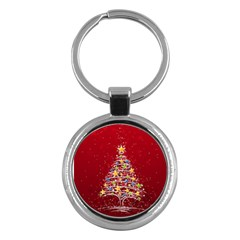 Colorful Christmas Tree Key Chains (Round)