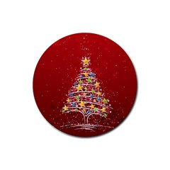 Colorful Christmas Tree Rubber Coaster (Round)
