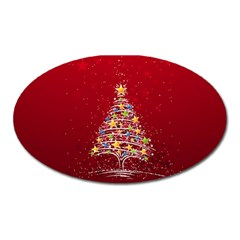Colorful Christmas Tree Oval Magnet