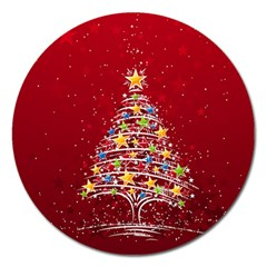 Colorful Christmas Tree Magnet 5  (round)