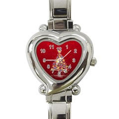 Colorful Christmas Tree Heart Italian Charm Watch