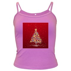 Colorful Christmas Tree Dark Spaghetti Tank