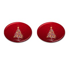 Colorful Christmas Tree Cufflinks (Oval)
