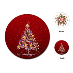 Colorful Christmas Tree Playing Cards (Round)