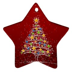 Colorful Christmas Tree Star Ornament (Two Sides)