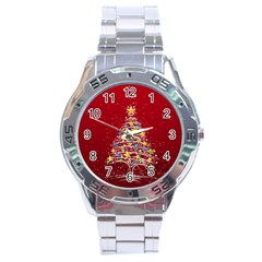 Colorful Christmas Tree Stainless Steel Analogue Watch