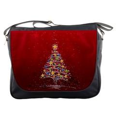 Colorful Christmas Tree Messenger Bags