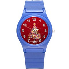 Colorful Christmas Tree Round Plastic Sport Watch (S)