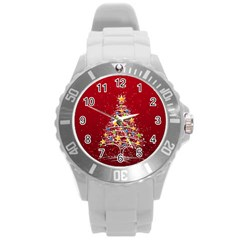 Colorful Christmas Tree Round Plastic Sport Watch (L)
