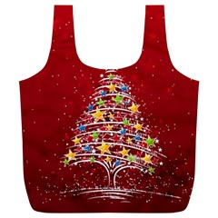 Colorful Christmas Tree Full Print Recycle Bags (l)