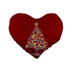 Colorful Christmas Tree Standard 16  Premium Flano Heart Shape Cushions
