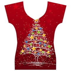 Colorful Christmas Tree Women s V-Neck Cap Sleeve Top