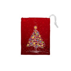 Colorful Christmas Tree Drawstring Pouches (XS)