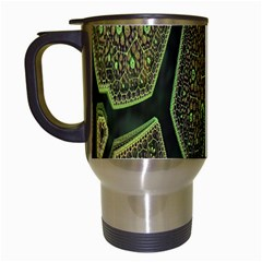Fractal Complexity 3d Dimensional Travel Mugs (White)