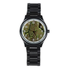 Fractal Complexity 3d Dimensional Stainless Steel Round Watch