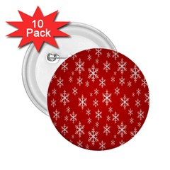 Christmas Snow Flake Pattern 2.25  Buttons (10 pack)