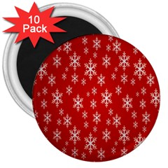 Christmas Snow Flake Pattern 3  Magnets (10 pack)