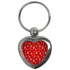 Christmas Snow Flake Pattern Key Chains (Heart)