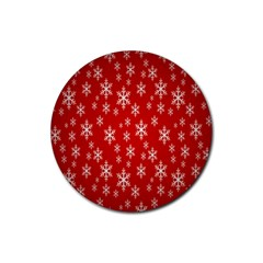 Christmas Snow Flake Pattern Rubber Coaster (Round)