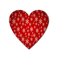 Christmas Snow Flake Pattern Heart Magnet
