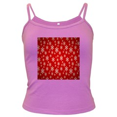 Christmas Snow Flake Pattern Dark Spaghetti Tank