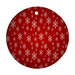 Christmas Snow Flake Pattern Round Ornament (Two Sides)