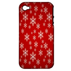 Christmas Snow Flake Pattern Apple iPhone 4/4S Hardshell Case (PC+Silicone)
