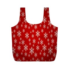 Christmas Snow Flake Pattern Full Print Recycle Bags (m)