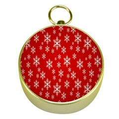 Christmas Snow Flake Pattern Gold Compasses