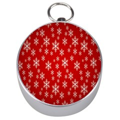Christmas Snow Flake Pattern Silver Compasses