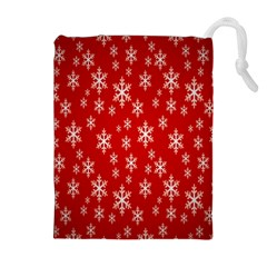 Christmas Snow Flake Pattern Drawstring Pouches (Extra Large)