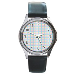Grid Squares Texture Pattern Round Metal Watch