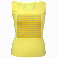 Grid Squares Texture Pattern Women s Yellow Tank Top
