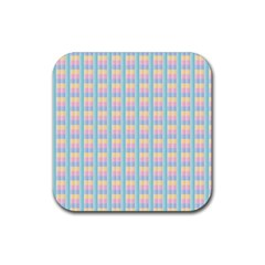 Grid Squares Texture Pattern Rubber Square Coaster (4 pack)