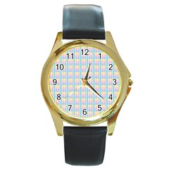 Grid Squares Texture Pattern Round Gold Metal Watch