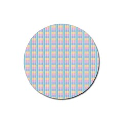 Grid Squares Texture Pattern Rubber Coaster (round)