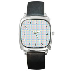Grid Squares Texture Pattern Square Metal Watch