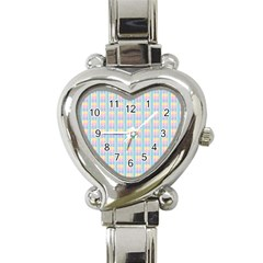Grid Squares Texture Pattern Heart Italian Charm Watch