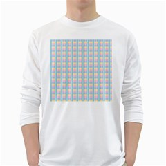Grid Squares Texture Pattern White Long Sleeve T-Shirts