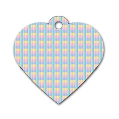 Grid Squares Texture Pattern Dog Tag Heart (One Side)