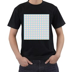 Grid Squares Texture Pattern Men s T-Shirt (Black)