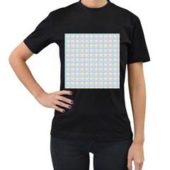 Grid Squares Texture Pattern Women s T-Shirt (Black)