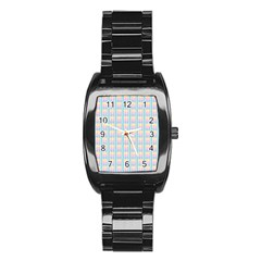 Grid Squares Texture Pattern Stainless Steel Barrel Watch